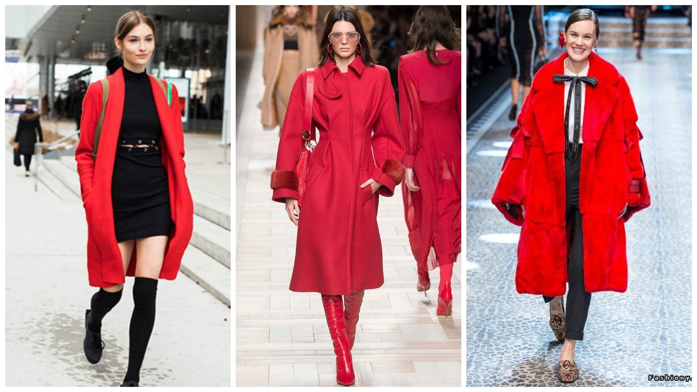 модные красные вещи, уличная мода осень зима 2018