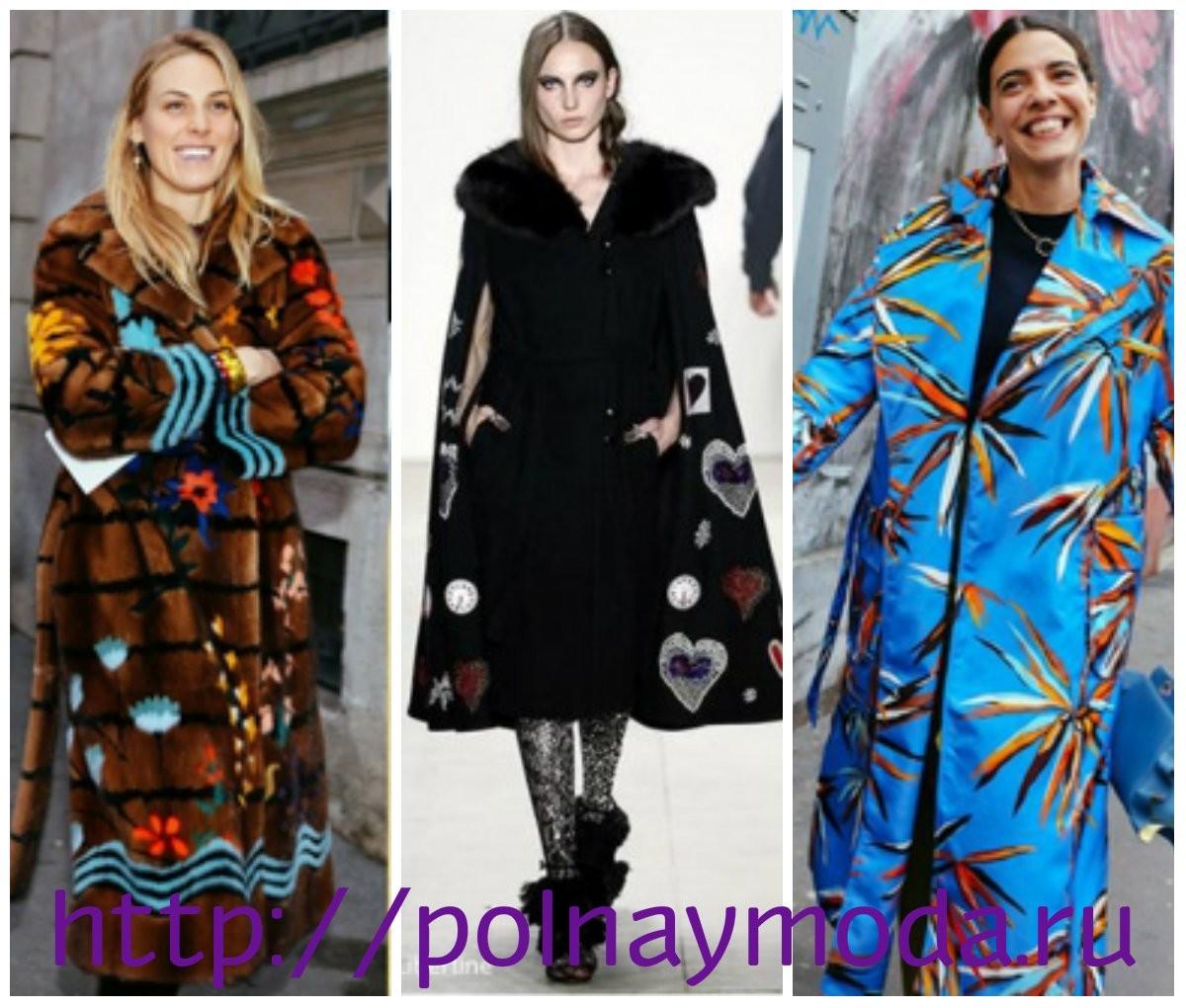 пальто с аппликацией, принтом, рисунками, мода Италии 2018 2019