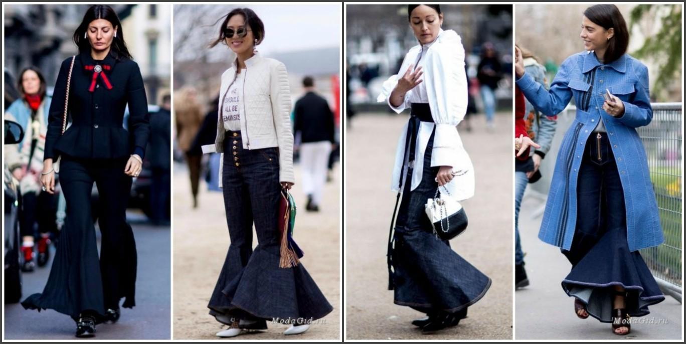 мода осень зима 2018, женские брюки с воланами