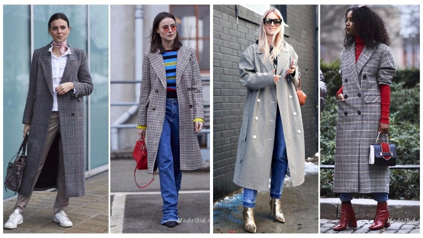 клетчатая женская одежда, пальто в клетку, мода осень зима 2018