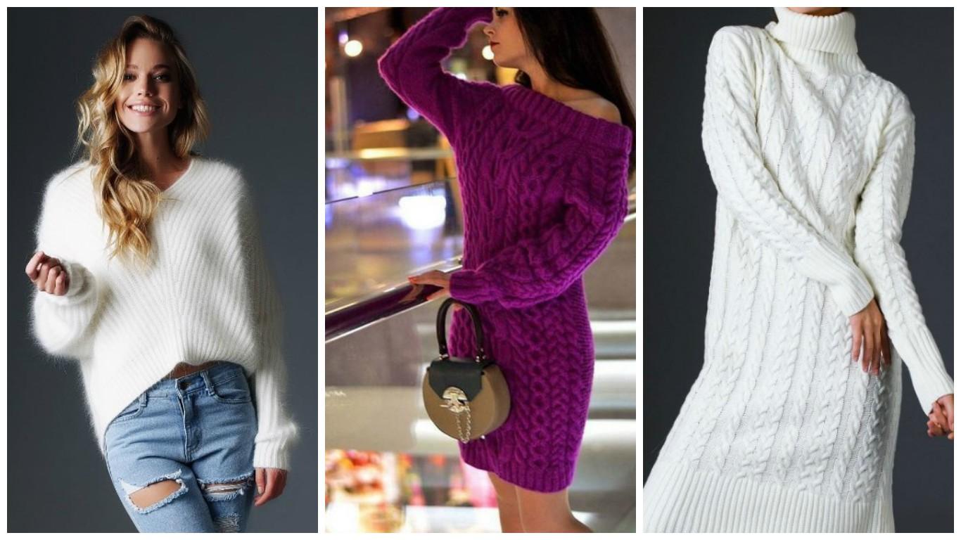 вязанная мода осень зима 2018, уличная мода