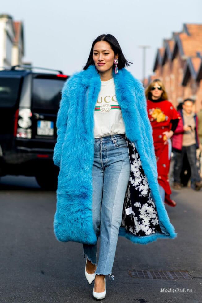 женская мода Милана, Итальянская мода, голубые шубы тренд осени зимы 2018