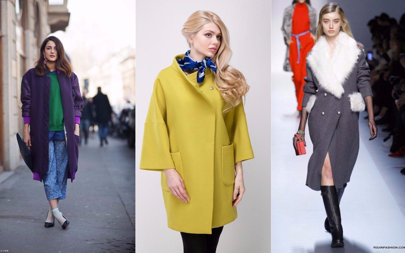 фасоны женского пальто кокон, оверсайз, классическое с мехом.