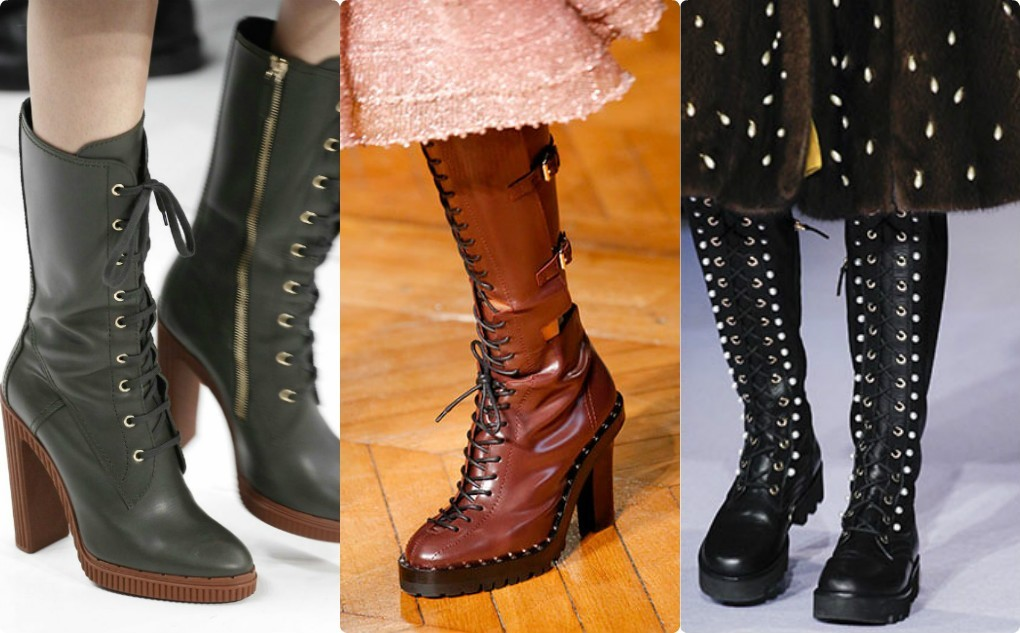ботфорты модные сапоги обувь 2018 2019, боотфорты на шнуровке на каблуке, платформе
