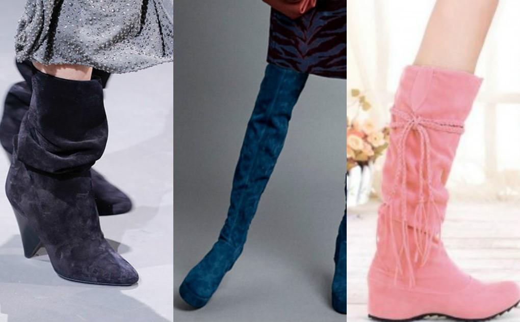 сапоги мода зима 2018 замша, длинные каблук, гармошкой, на танкетке, розовые, фиолетовые, зеленые