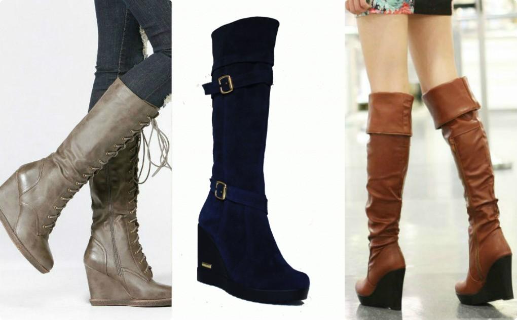 модная обувь осень зима, замшевые сапоги на танкетке, кожаные сапоги с длиной голенью