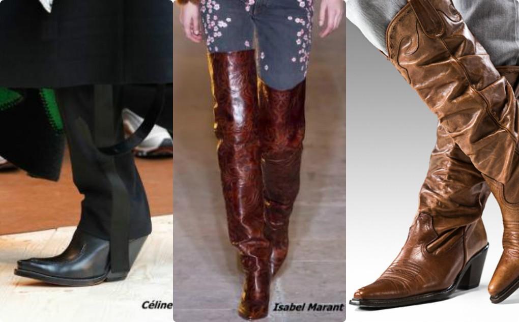 женские модные сапоги, осень зима 2018, 2019, ковбойские сапоги, а-ля ковбой
