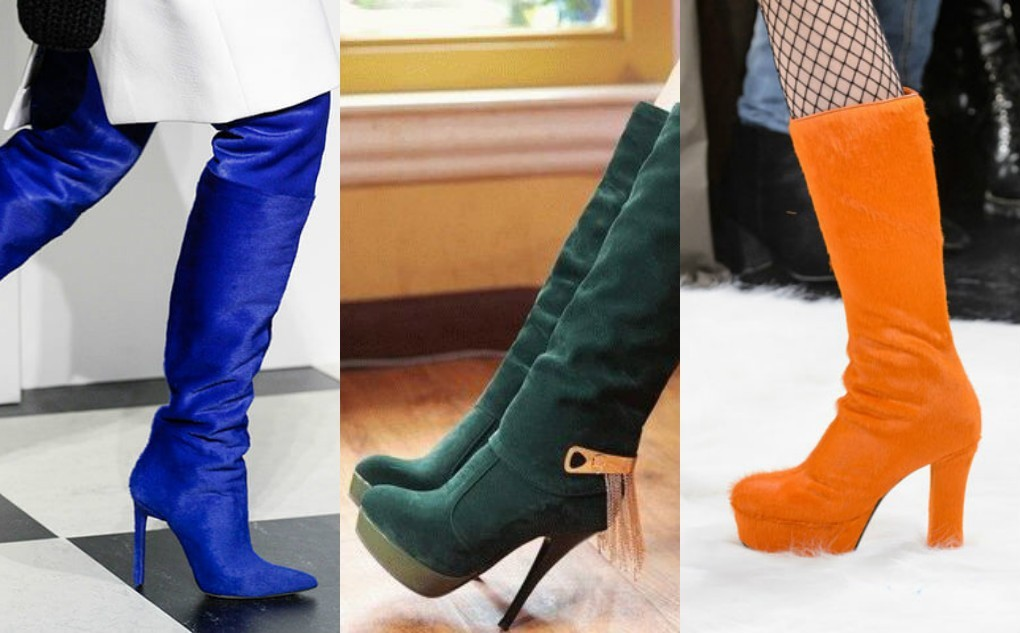сапоги модного цвета 2018, зеленые, синие, оранжевые, сапоги женские