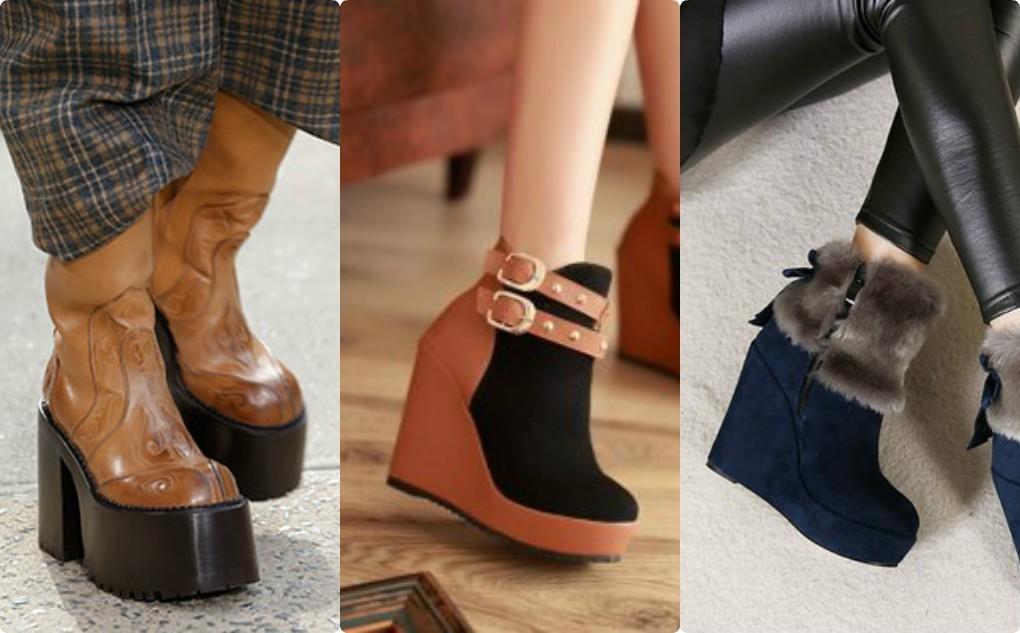 мода 2018, 2019, модная обувь на платформе, сапоги на танкетке, полусапожки на танкетке