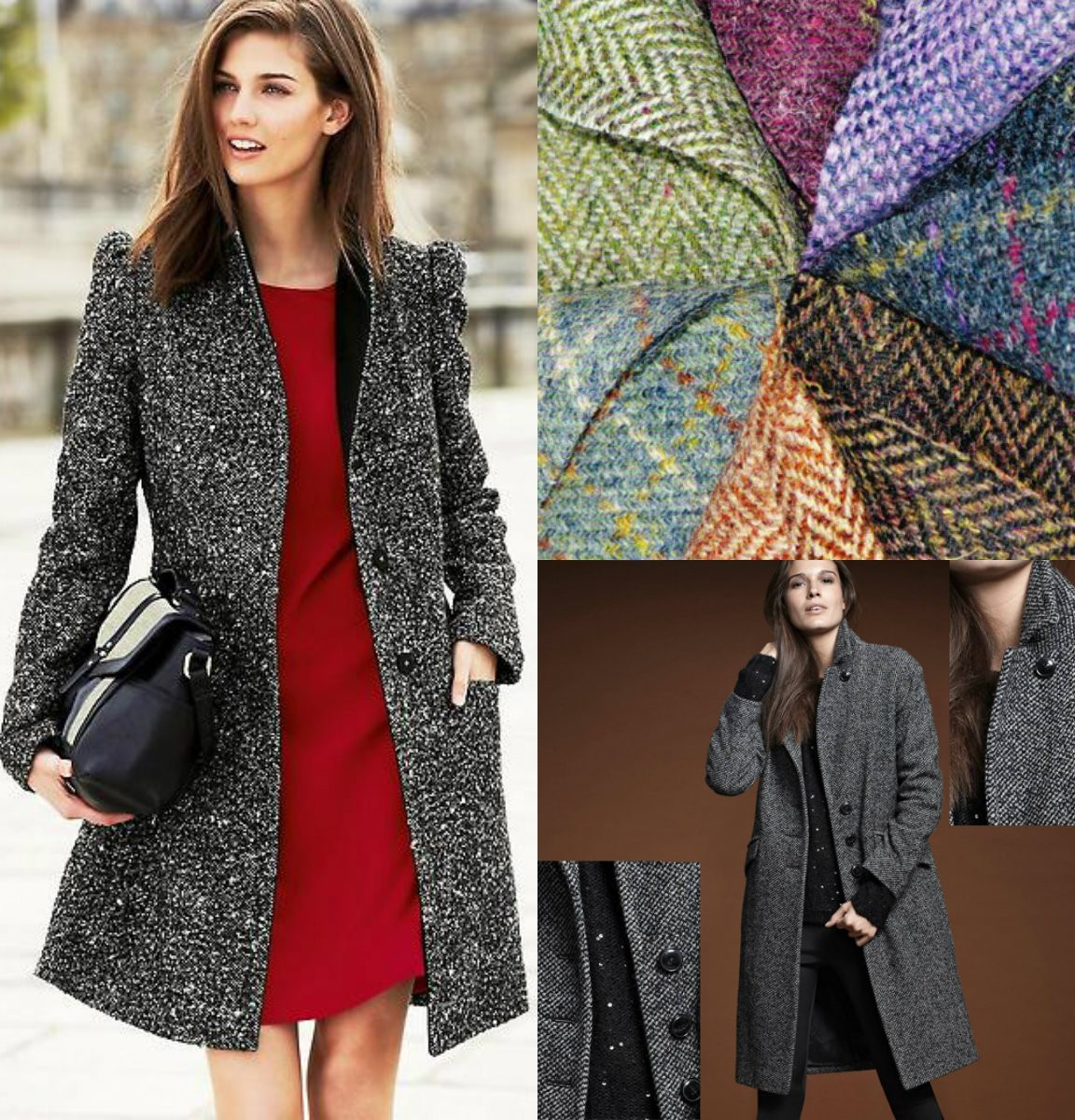 женское пальто из твида, шерстяной твид