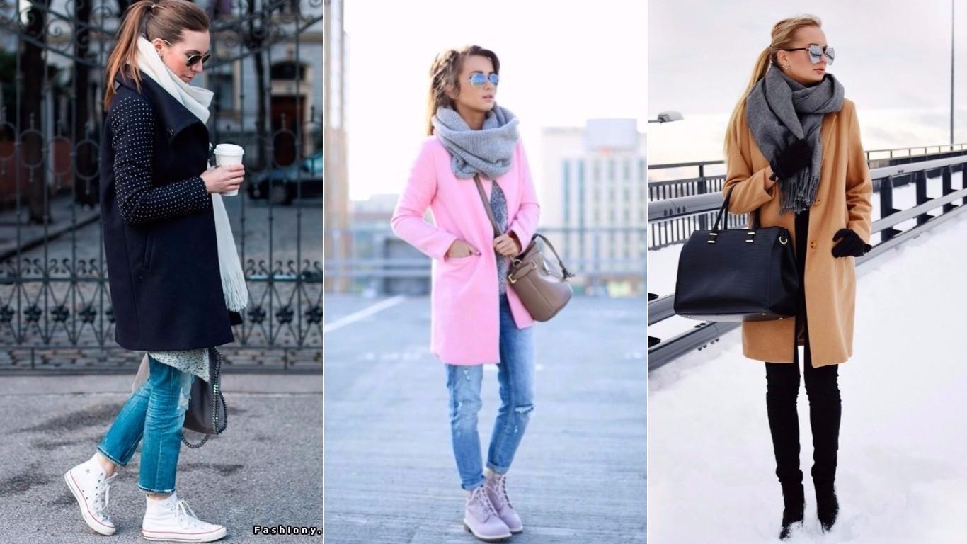 сочетание пальто со снудом, с шарфом