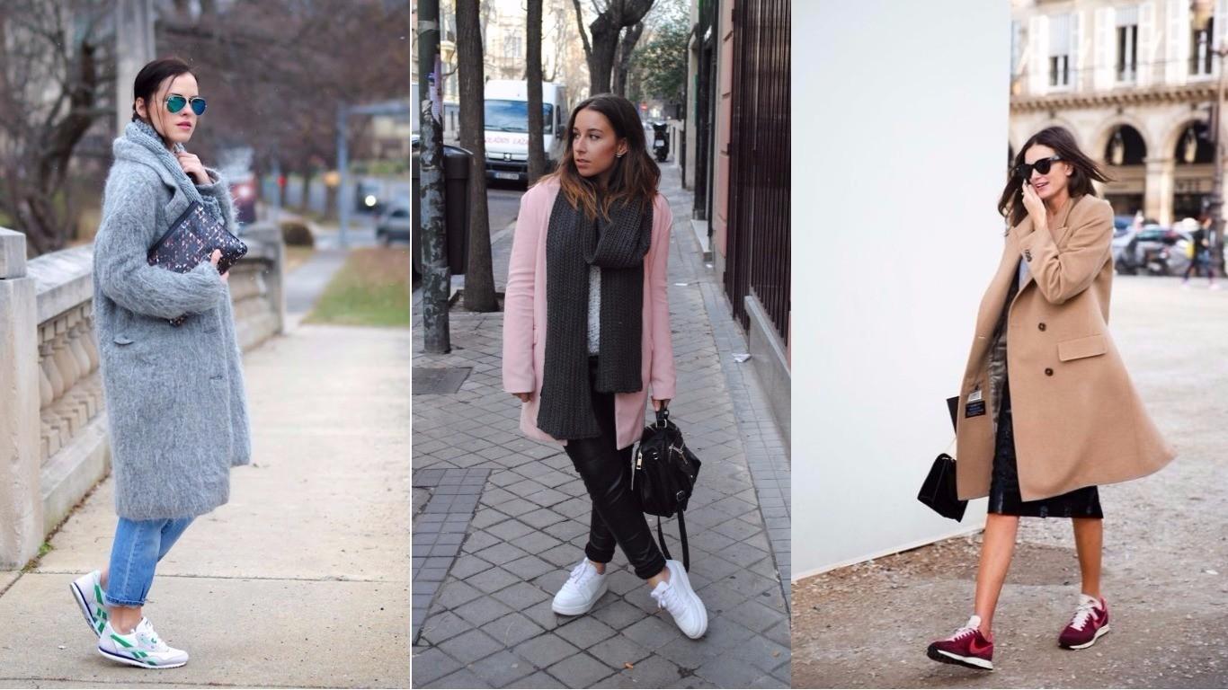 женское пальто с кроссовками, как носить, сочетания с кроссовками, сникерсами