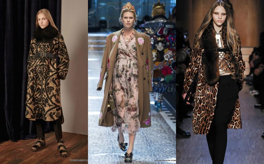 Зимнее пальто женское с цветочным, зоологическим, узорным принтом. Мода 2018 2019