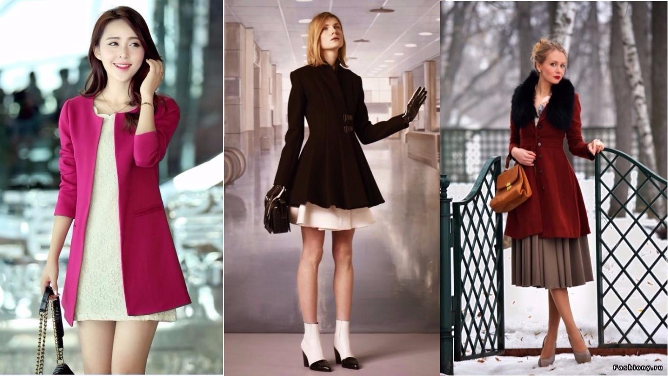 девушка в пальто с платьем. расклешенная модель с юбкой клеш