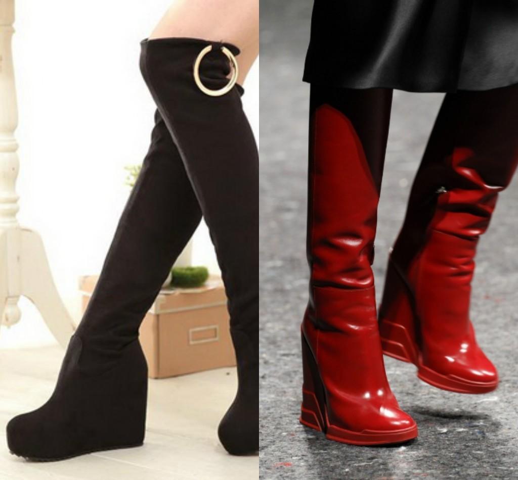 женские сапоги на платформе, черные, красные сапоги на танкетке мода 2018