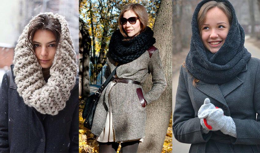 как носить пальто со снудом, объемным шарфом, капором