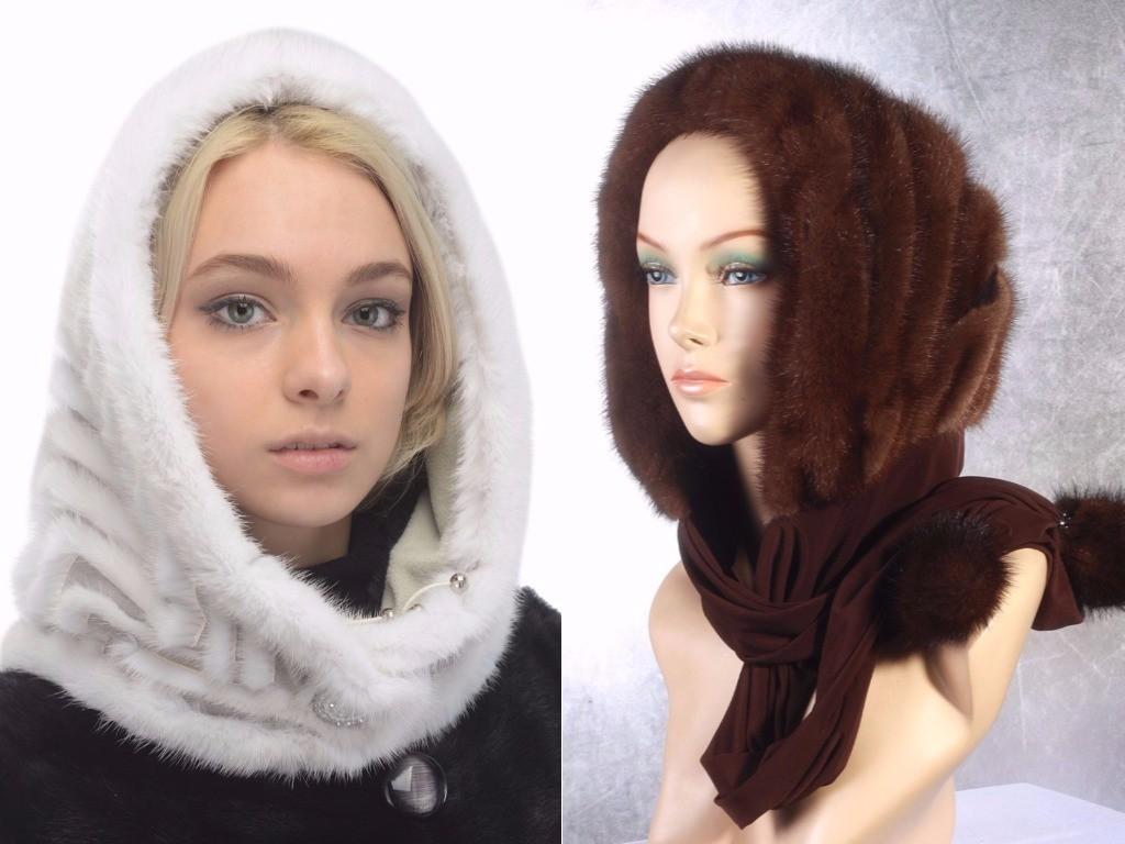 Модные шапки зима 2018 2019 женский норковый капор, меховой шарфик