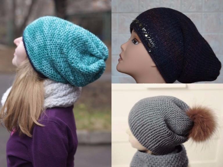 вязаная шапка-чулок бини, мода зима 2018