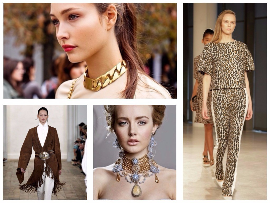 плотное ожерелье на шее, леопардовый обтягивающий костюм, блузка с бахромой