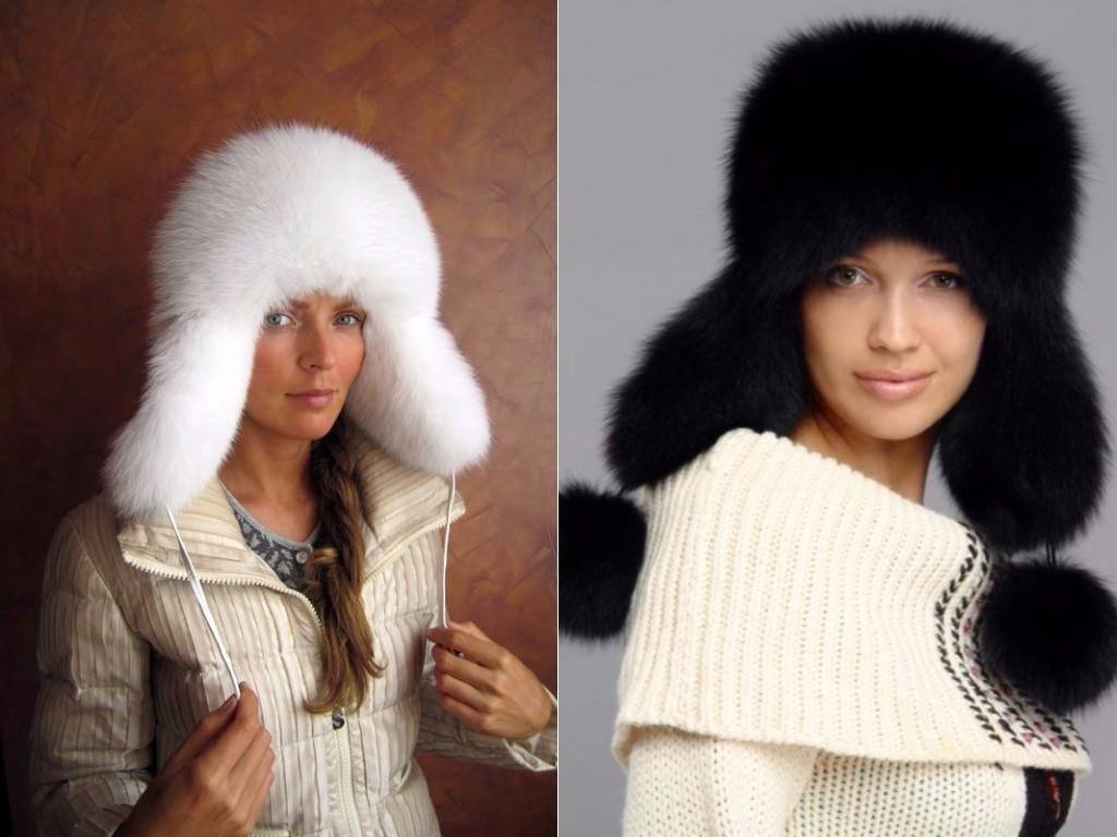 какие меховые шапки в моде зимой, ушанка из меха белая черная женская