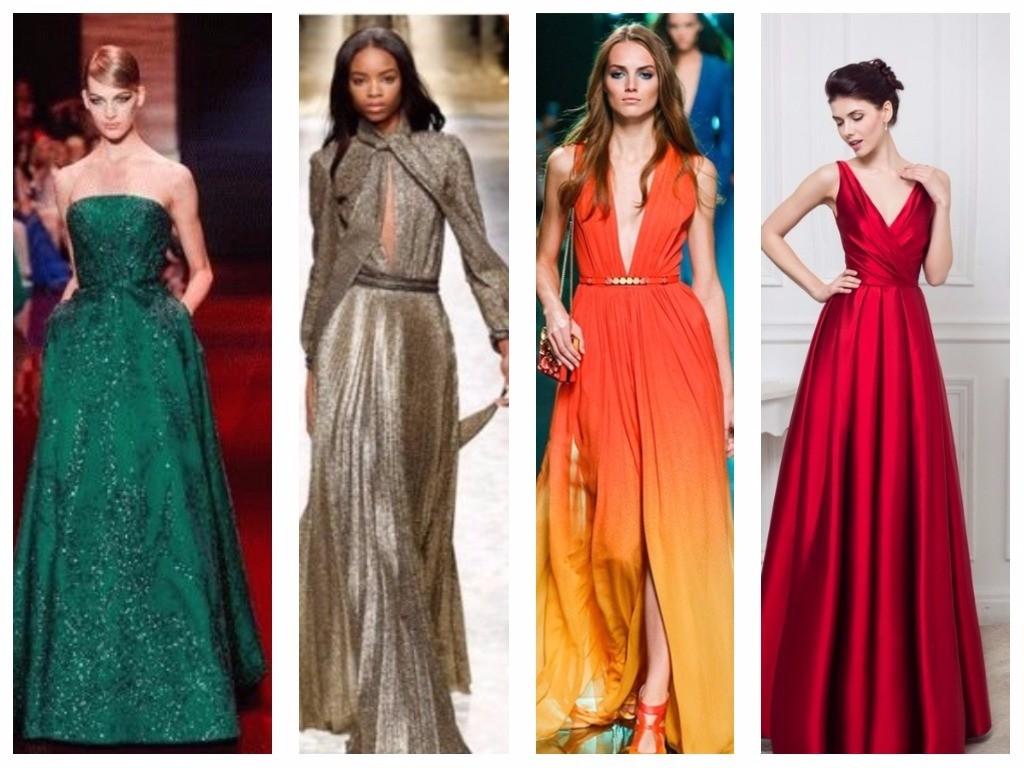 платья модного цвета оранжевый, бкрасный, малахитовый, кофейный для нового года 2018