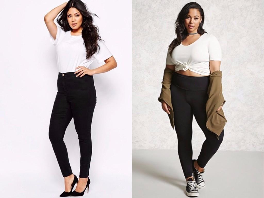 с чем носить стрейчевые джинсы полным