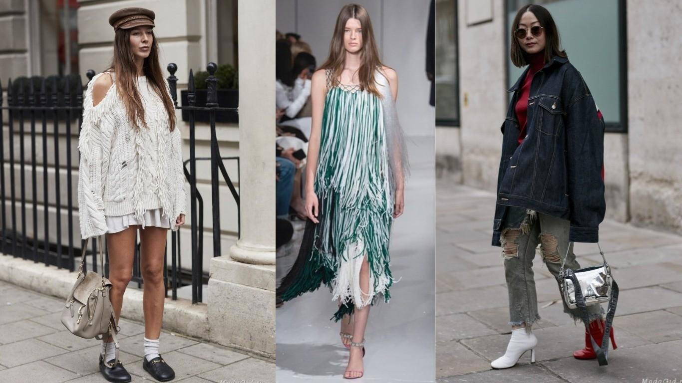 уличный стиль весна лето 2018 мода тренд бахрома на платье юбке брюках аксессуарах длинная толстая тонкая цветная