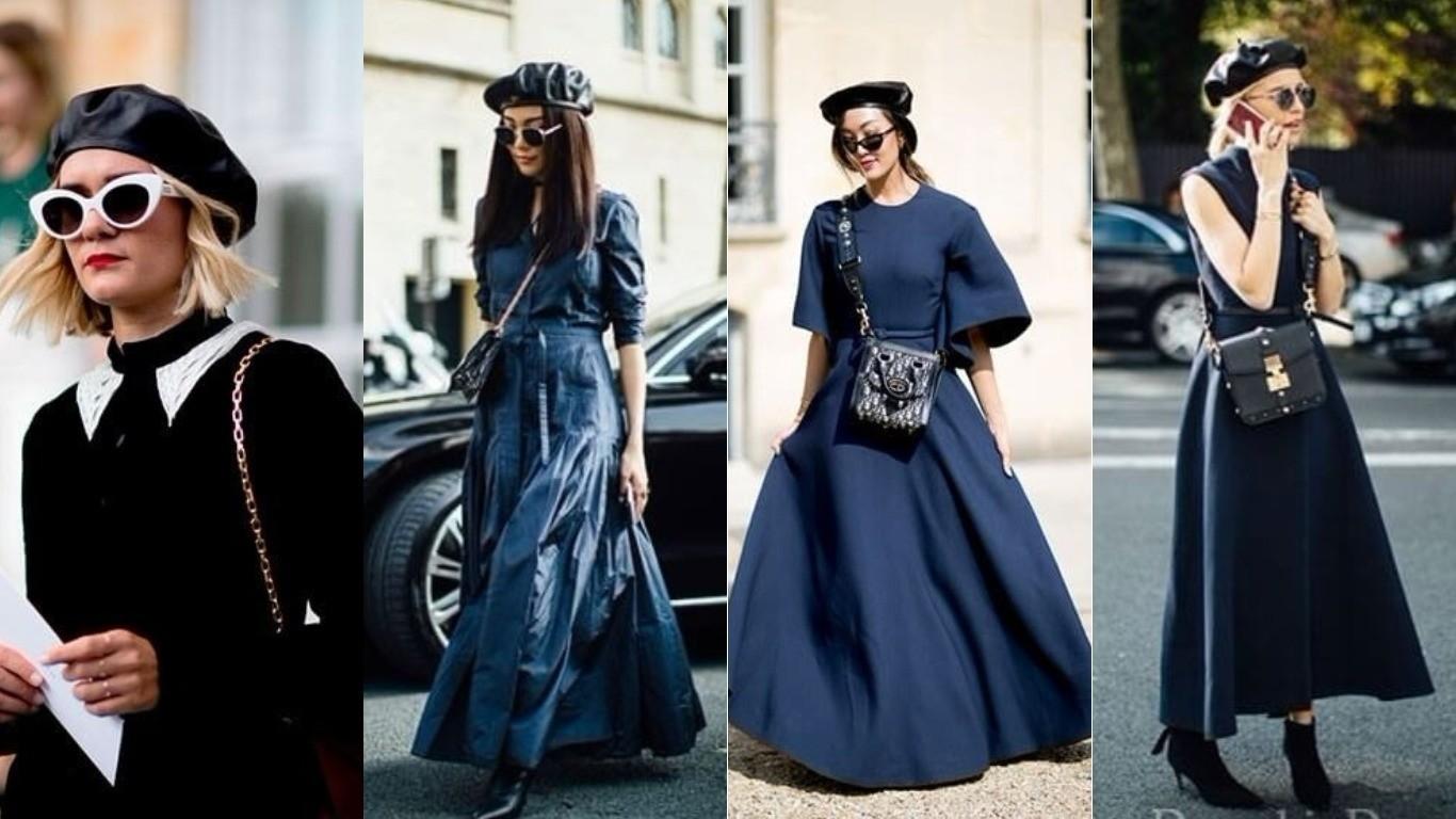 Мода улиц весна лето 2018 берет французский стиль