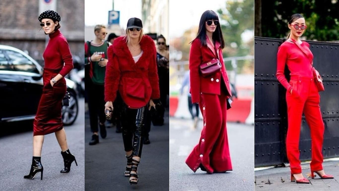 Уличный стиль весна лето 2018 монолук костюмы одного цвета красный бордовый алый