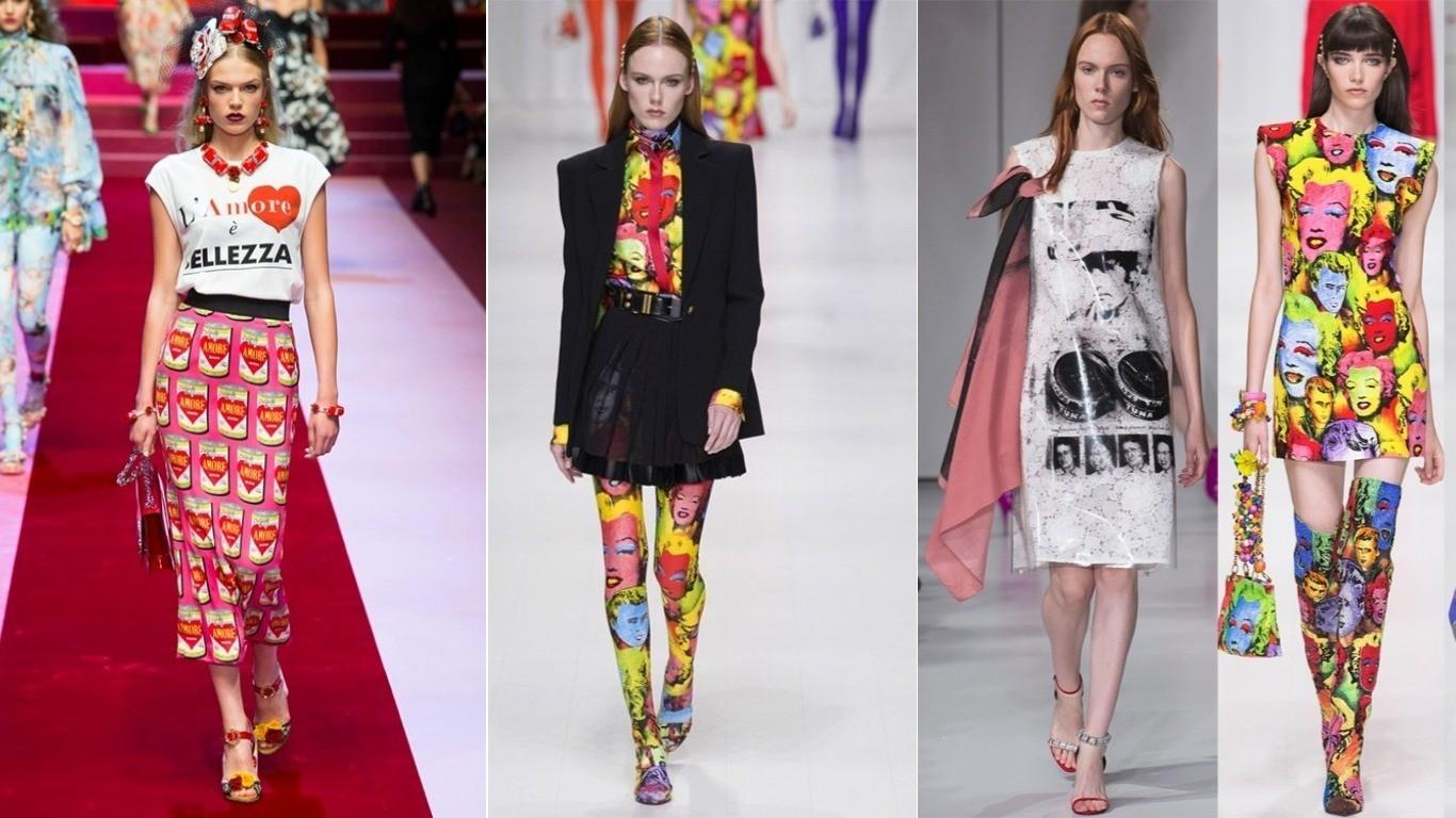 Уличный стиль весна лето 2018 поп-арт принт попартовский на костюмах платьях юбках
