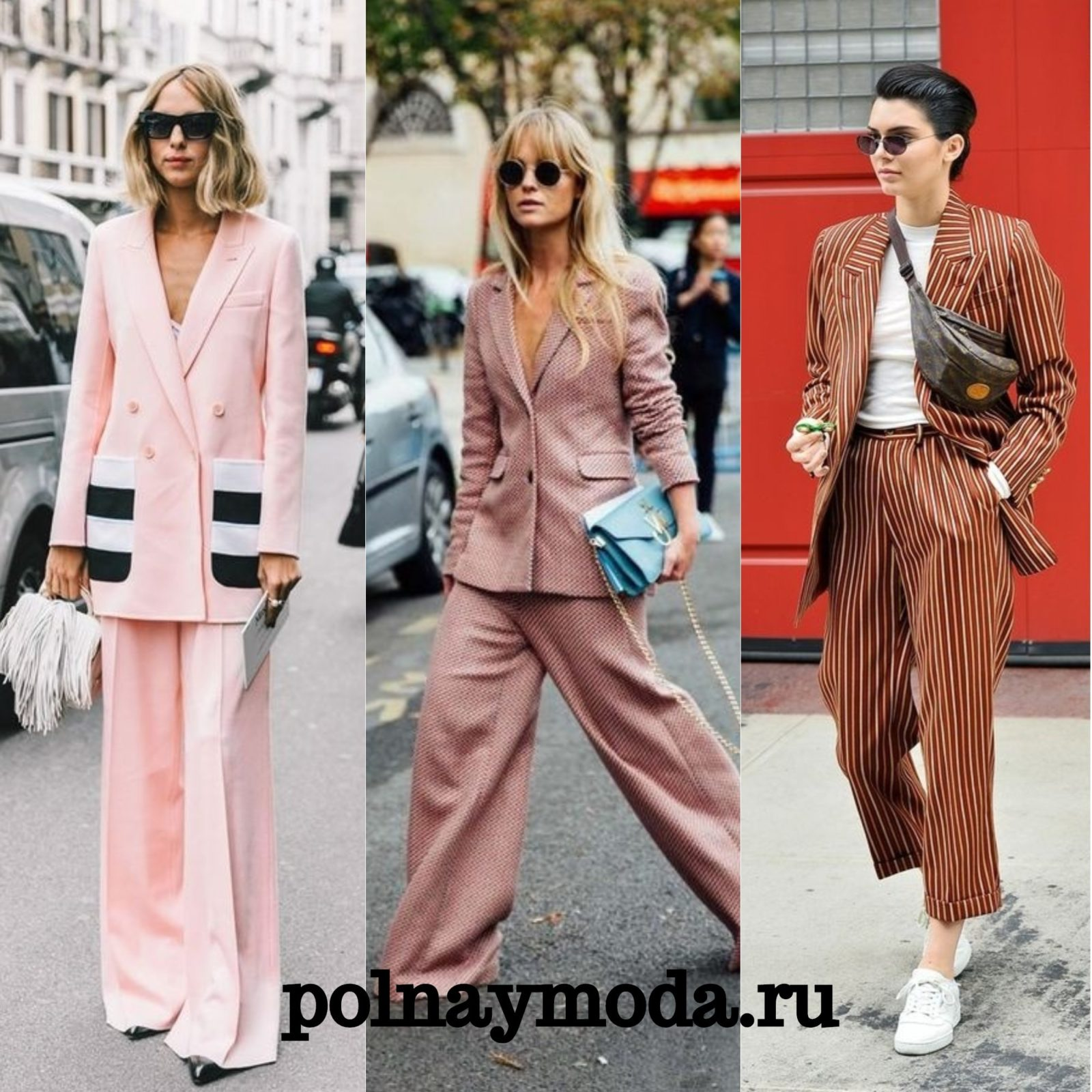 уличная мода 2018 брючные костюмы в клетку полоску розовые с широкими брюками