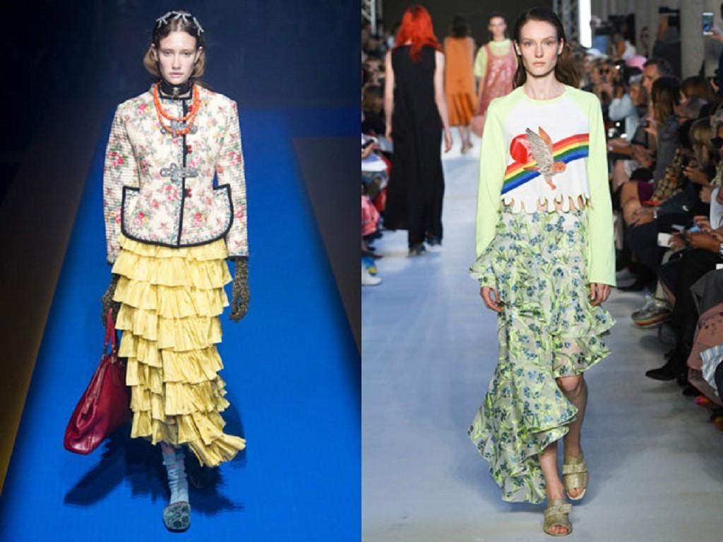 модные юбки с рюшами и воланами