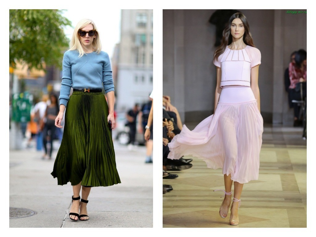 модные юбки плиссе весна лето 2018