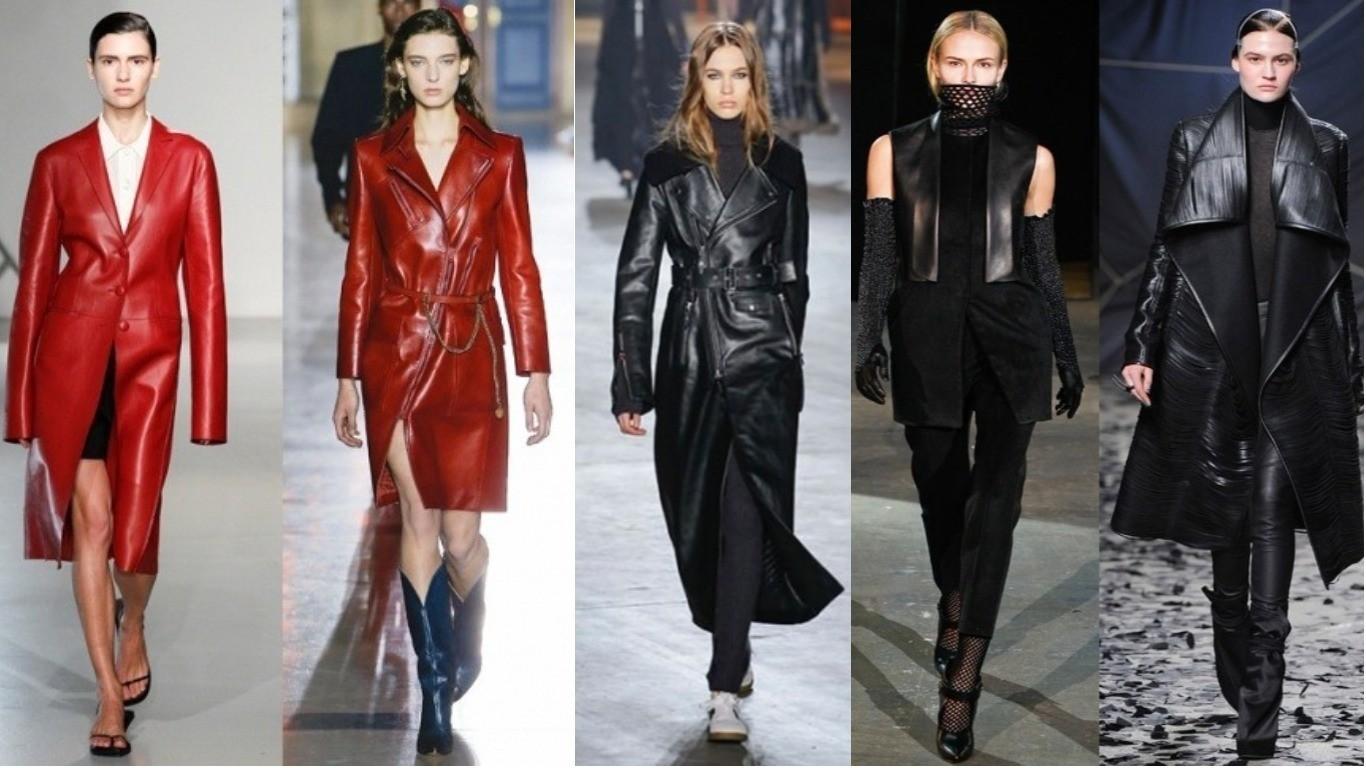 Уличная мода весна лето 2018 кожаный черный синий коричневый плащ мода улиц