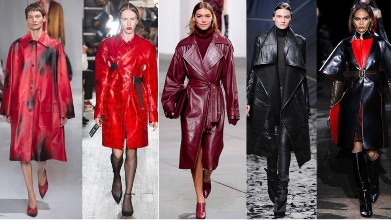 Уличная мода весна лето 2018, кожаный экокожаный плащ мода улиц
