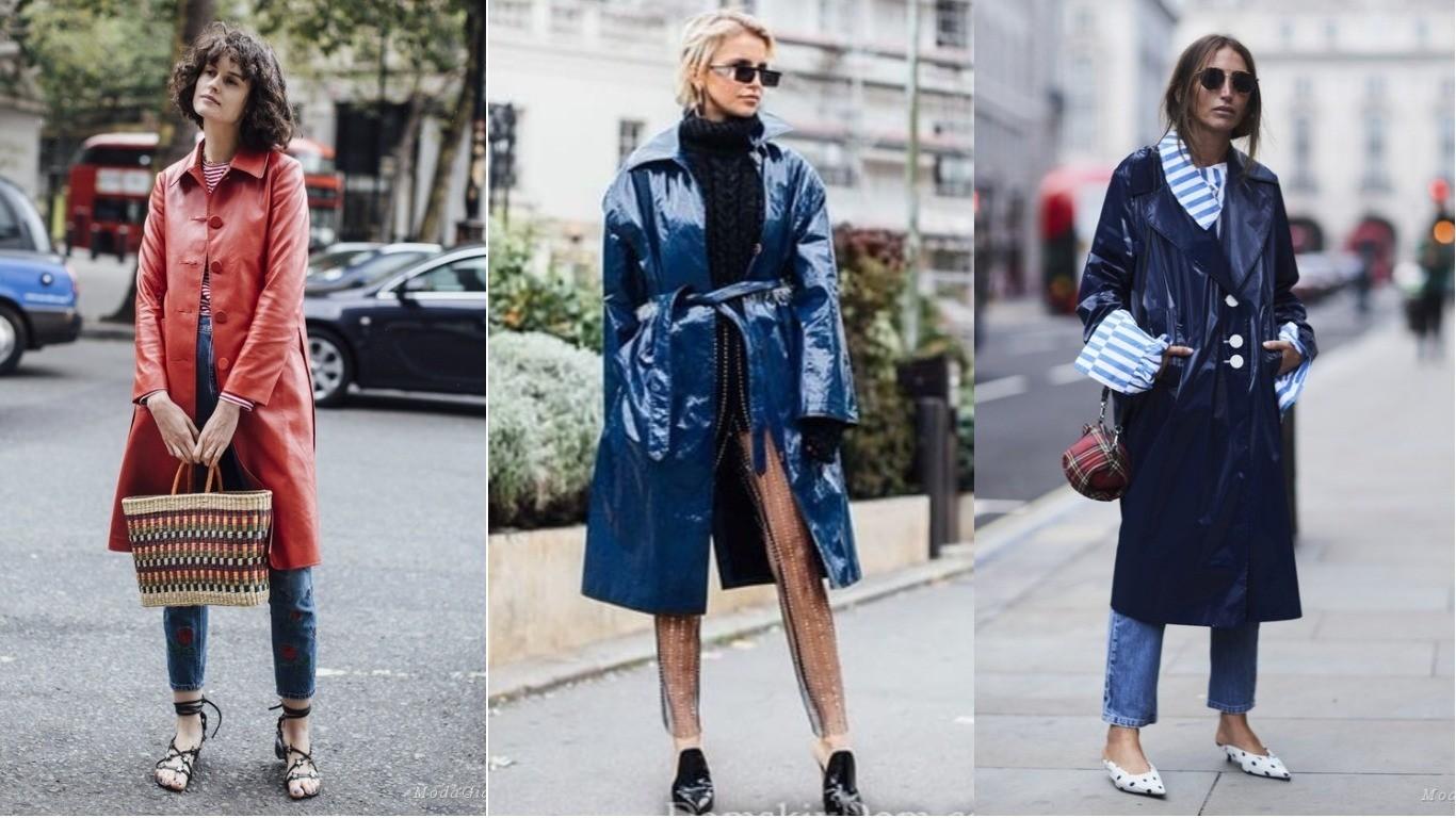 Уличная мода весна лето 2018 кожаный плащ стиль улиц