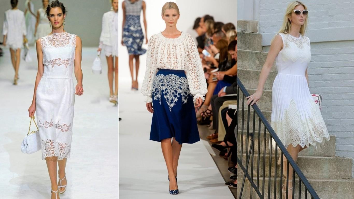 мода лето 2018 2019 кружева вышивка гипюр