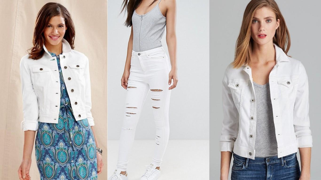 белый деним джинс куртки брюки мода лето 2018 2019