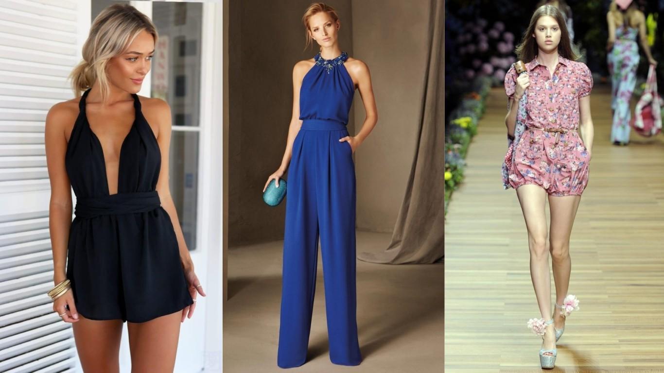 мода лето 2018 2019 комбинезон для женщин с рукавами с оголенными руками длинные и короткие