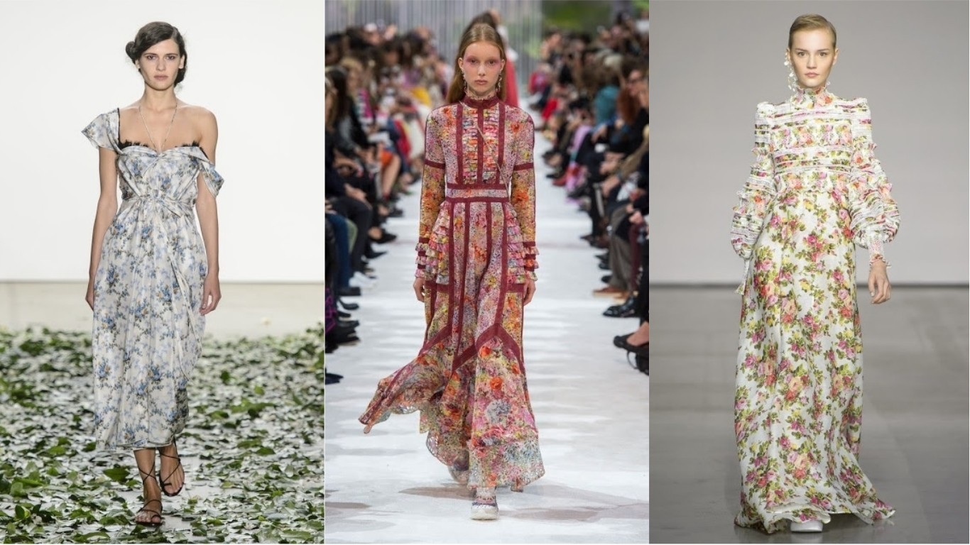 мода лето 2018 2019 цветочный стиль платья