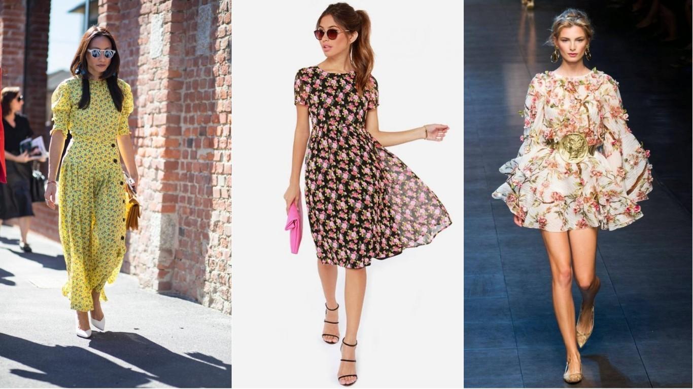 модная одежда лето 2018 2019 цветочный принт платья в цветочек