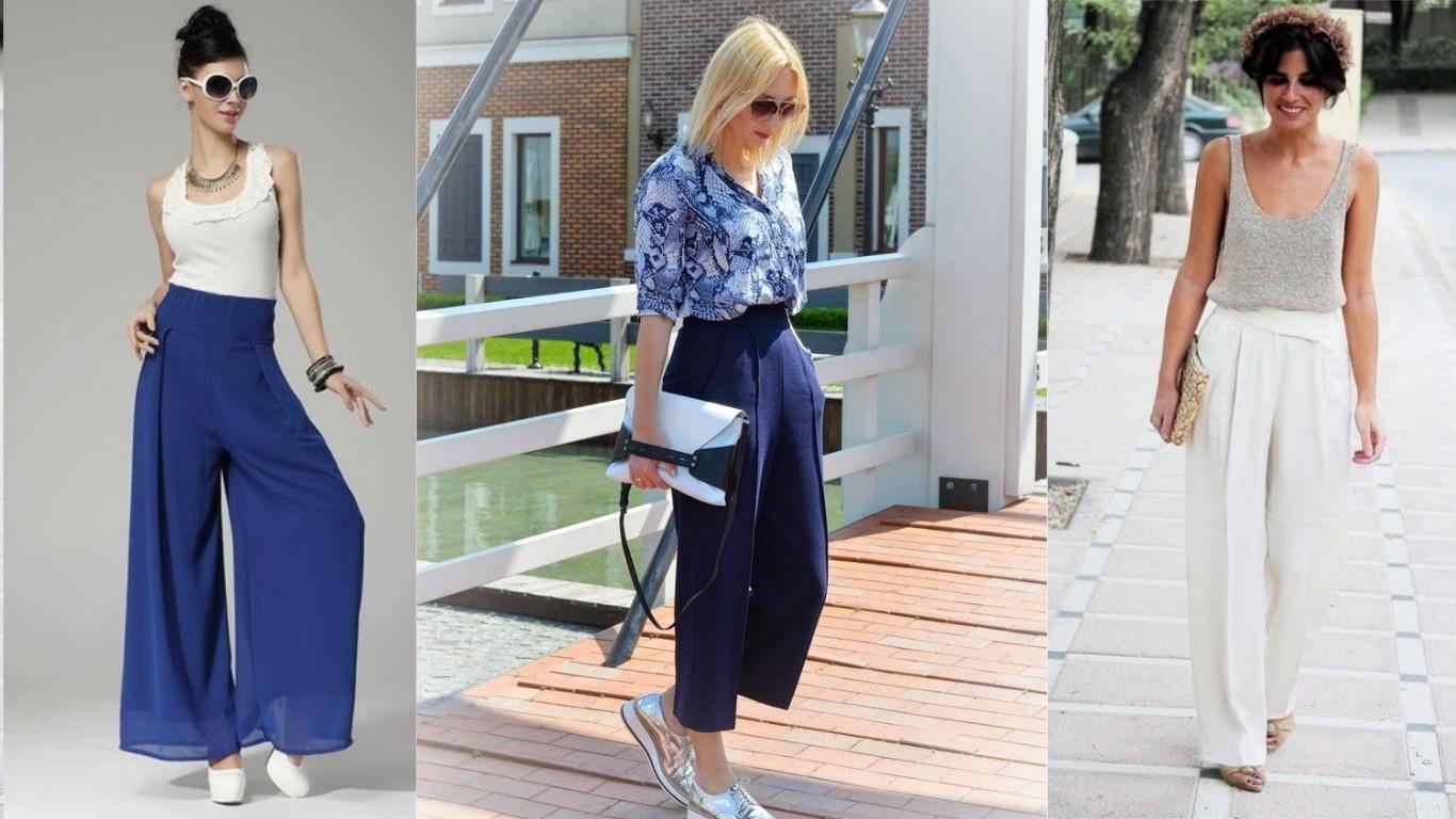 мода лето 2018 2019 брюки укороченные кюлот плаццо