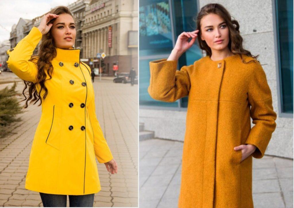 желтая коллекция модных пальто 2019