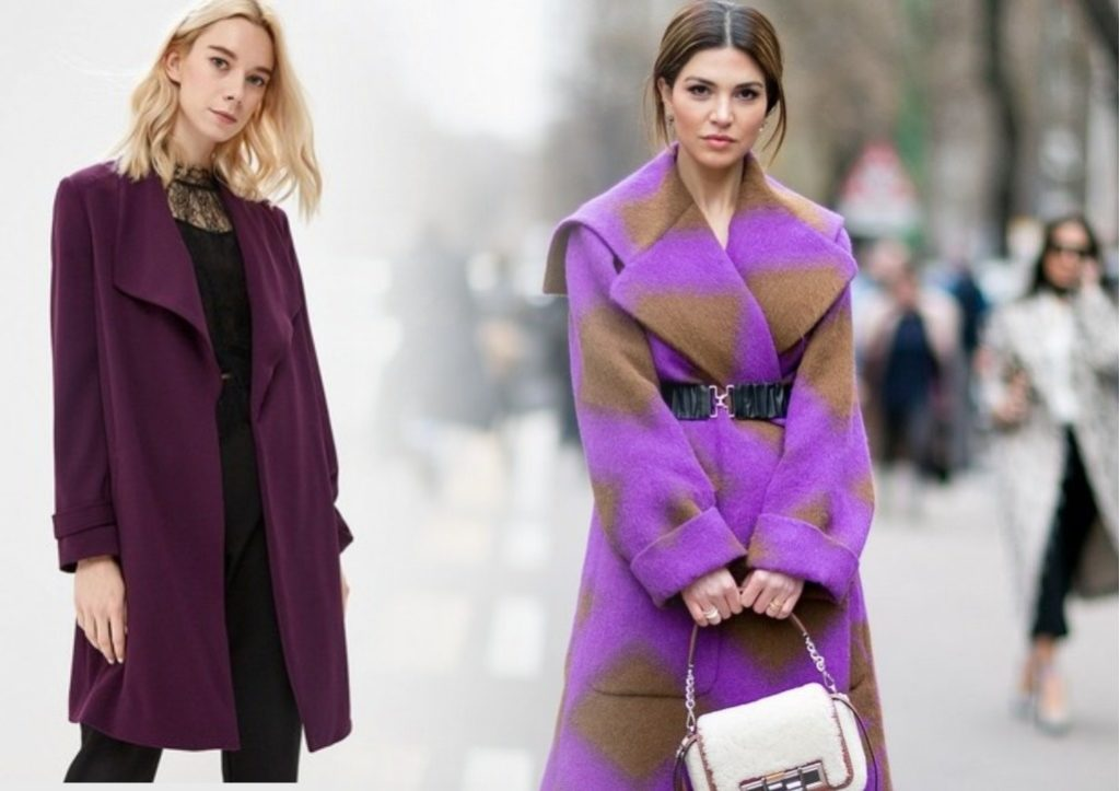 сиреневые модные пальто 2019