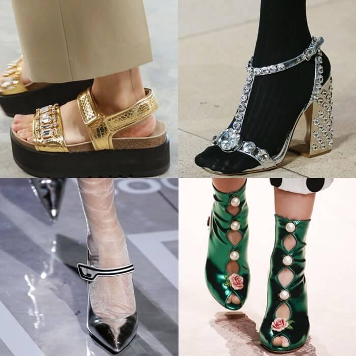 модная обувь хрусталь и металл