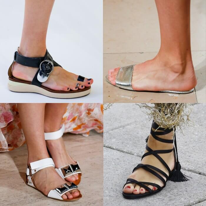 модная обувь простые сандали на плоской подошве