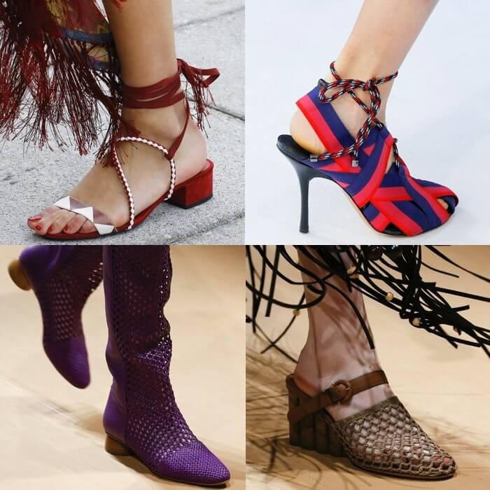 модная обувь сетка и веревки