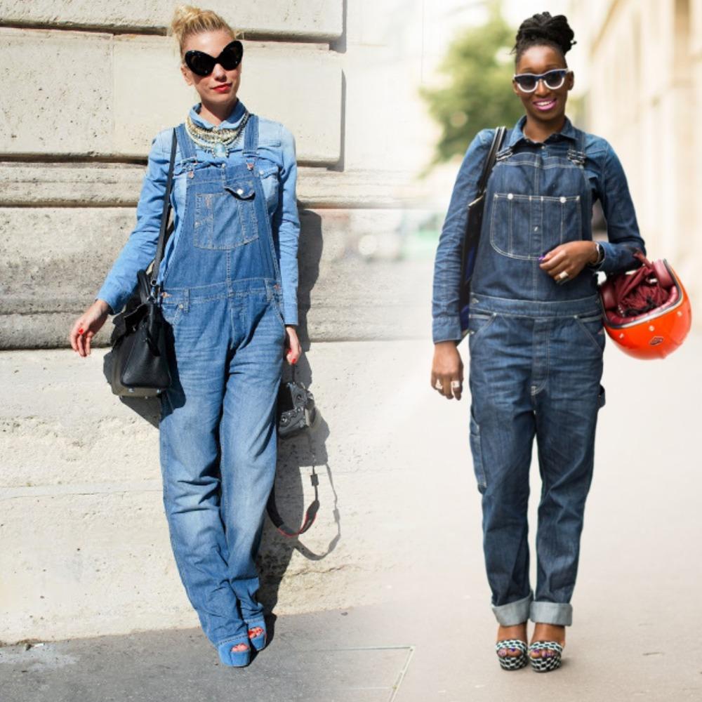 джинсовый комбинезон с чем носить