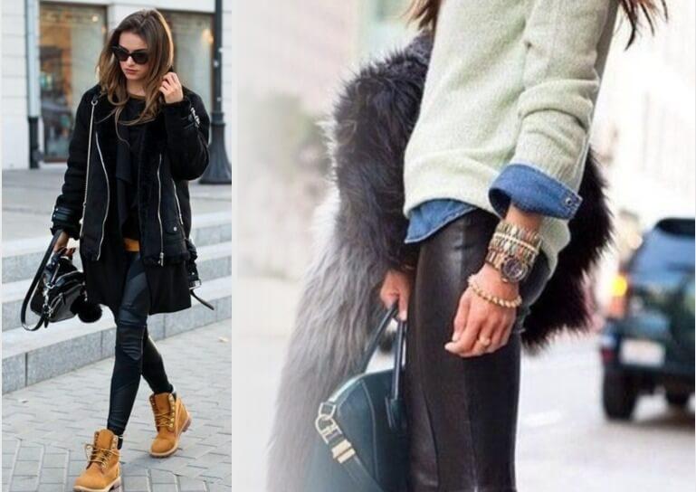 зимний образ с кожаными штанами 3
